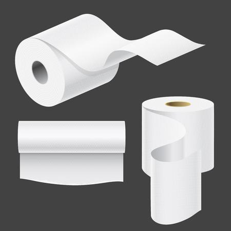 Realistische Papierrolle Mock-up-Set isoliert Vektor-Illustration leere weiße 3d Verpackung Küchentuch, Toilettenpapierrolle, Registrierkasse Klebeband, Thermo-Fax-Rollenschablone Standard-Bild - 87679916