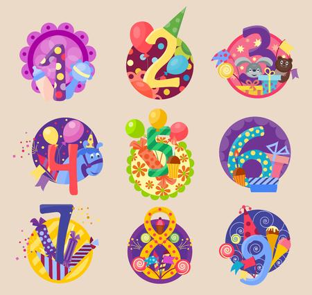 Happy birthday celebration 1-10 age