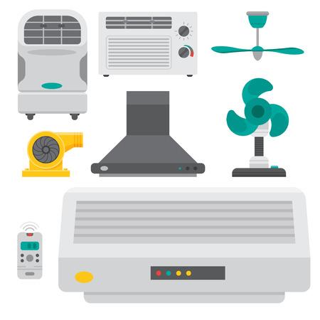 Airconditioner airlock systemen apparatuur ventilator conditioning klimaat ventilator technologie temperatuur koele vectorillustratie Stockfoto