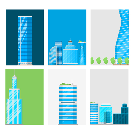 Skyscrapers buildings cards tower office city architecture house business apartment vector illustration
