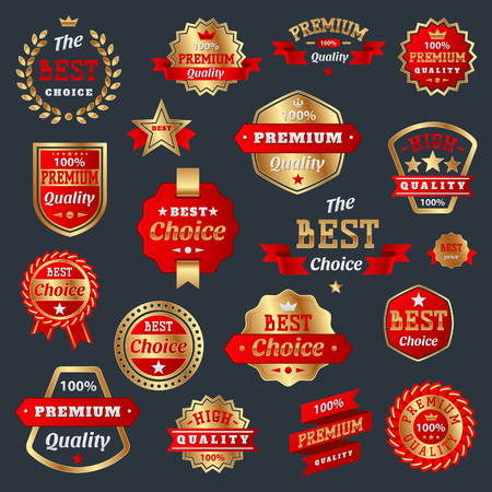 Best choice and premium quality product badges guarantee sign label best symbol medal collection certificate warranty vector illustration