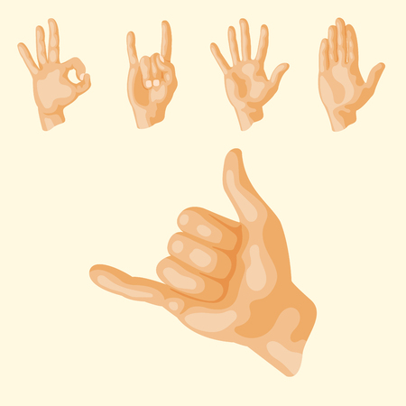 Hands deaf-mute different gestures human arm people communication message vector illustration.