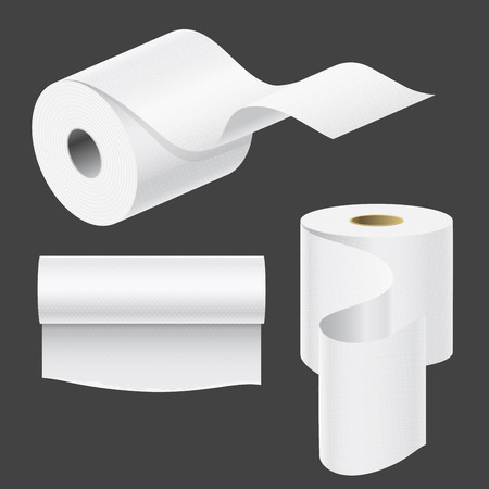 Realistic paper roll mock up set isolated vector illustration blank white 3d packaging kitchen towel template Banco de Imagens