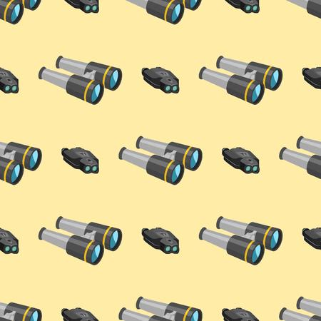 De professionele van het de verrekijkers naadloze patroon van de cameralens van het het glaslook-see kijker optische van de de camera digitale nadruk optische materiaal vectorillustratie. Night-vision technology look-see instrument. Stock Illustratie
