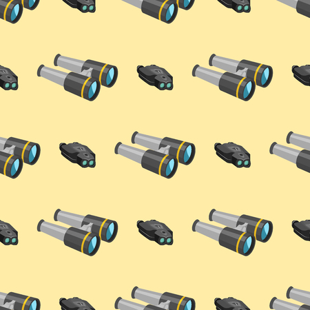 Professional camera lens binoculars seamless pattern glass look-see spyglass optic device camera digital focus optical equipment vector illustration. Night-vision technology look-see instrument. Stok Fotoğraf - 87702544