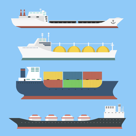 商業配信貨物船およびタンカー産業財側ビュー背景タンカー船のベクトル図に分離されたバルク キャリア列車フェリー貨物を配送のセット。