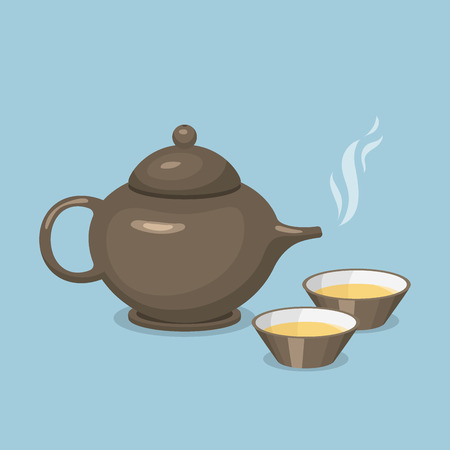 Kettle teapot drink hot breakfast kitchen utensil tea pot with two cups vector illustration. Coffee kitchenware beverage modern teakettle.