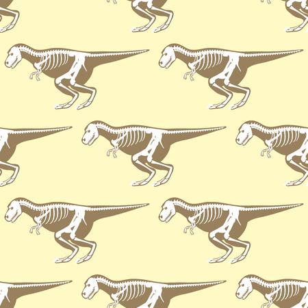 Dinosaurs skeletons silhouettes seamless pattern fossil bone tyrannosaurus prehistoric animal and jurassic monster predator dino vector flat illustration.