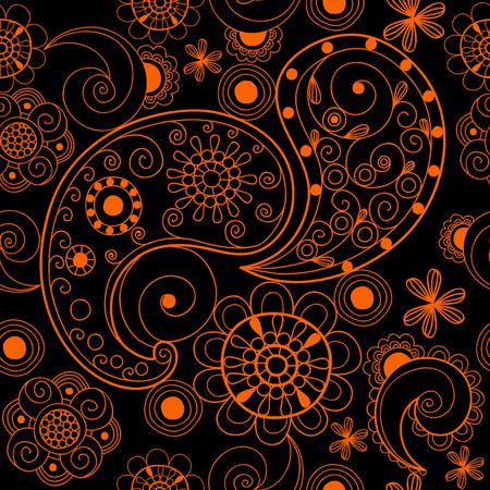 花 mehendi パターン飾りベクトル イラスト手描きヘナ アジア繊維スタイル インド部族ペイズリー華やかです。民族の装飾用レース ヴィンテージ マン  イラスト・ベクター素材
