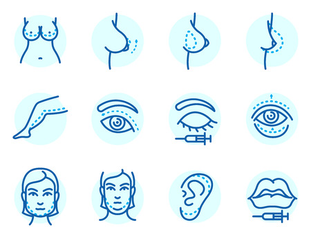 Plastic surgery body parts face correction infographic icons anaplasty medicine skin treatment beauty health procedure vector illustration. Human patient medical surgeon person anatomy.