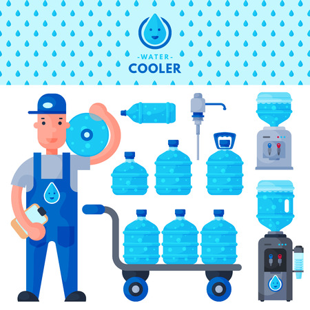 Water delivery service man character in uniform.