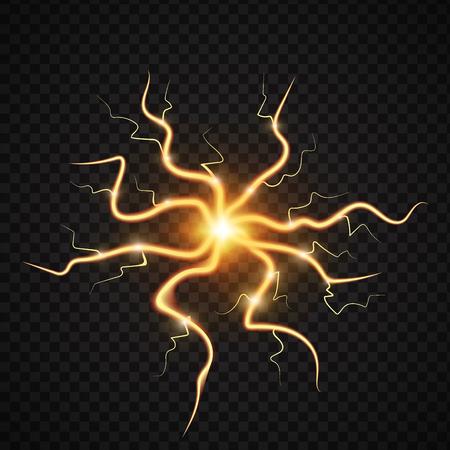 Realistische Blitze des Energieenergie-Blitzes mit Transparenz für Designgewittermagie und helle Lichteffektvektorillustration. Realistisches Licht 3d des natürlichen Blitzsturmstreiks Standard-Bild - 87706432