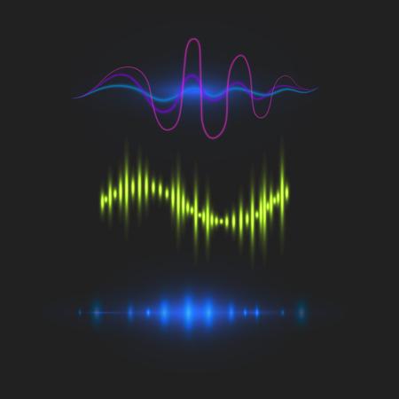 Vector digital music equalizer audio waves design template audio signal visualization signal illustration. Multitrack editing system soundtrack line bar spectrum electronic. Ilustração