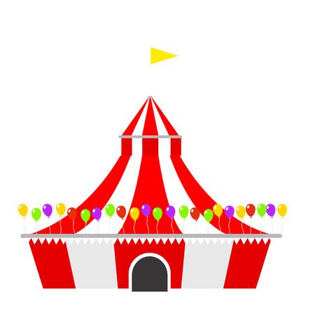 서커스 텐트 줄무늬와 플래그를 윤곽선 카니발 엔터테인먼트 오락 lelements 플랫 벡터. 엔터테인먼트 레드 돔 카니발 파크 경기장 축 하합니다.