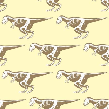 Dinosaurs skeletons silhouettes seamless pattern fossil bone tyrannosaurus prehistoric animal and jurassic monster predator dino vector flat illustration.. Reptile extinct paleontology old bones.