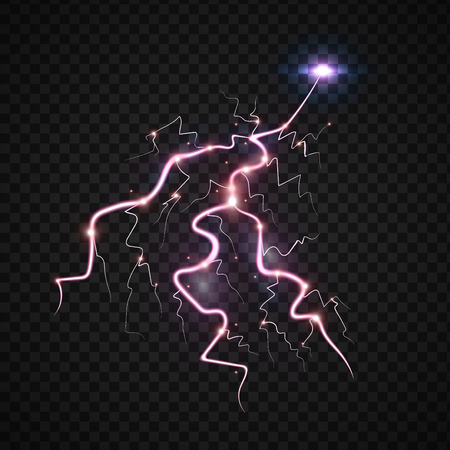 Power energy thunderbolt realistic lightnings with transparency for design thunder-storm magic and bright lighting effects vector illustration. Natural lightning bolt storm strike realistic 3d light Ilustracja