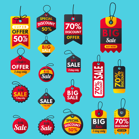 Super sale extra bonus red banners text label business shopping internet promotion discount offer illustration.