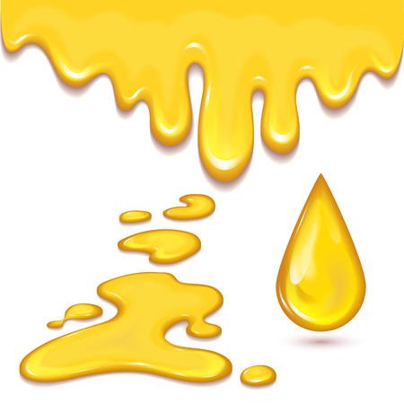 Set oranje honing druppels en gele spatten gezonde siroop gouden voedsel vloeibare druppel vector illustratie.