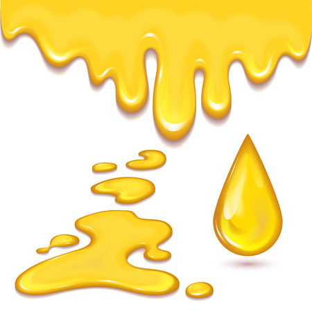 Set of orange honey drops and yellow splashes healthy syrup golden food liquid drip vector illustration. Illustration
