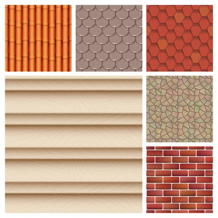 클래식 텍스처와 세부 지붕 타일 완벽 한 패턴 집. 일러스트