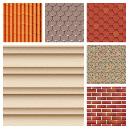 Roof tiles of classic texture and detail house seamless pattern.