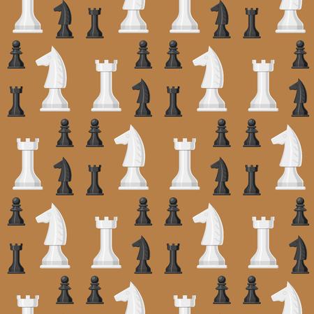 チェスボードシームレスなパターンの背景等身大駒レジャー。コンセプトナイトグループ白と黒のピースコンペティション。戦略プレイレジャーバ