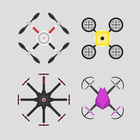 Vector illustratie luchtvoertuig drone quadcopter toezicht onbemande innovatie.