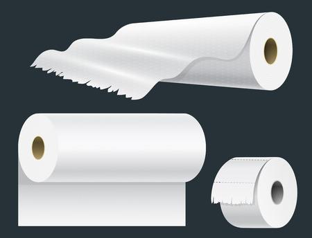 Realistische Papierrolle Mock-up-Set isoliert Vektor-Illustration leere weiße 3d Verpackung Küchentuch, Toilettenpapierrolle, Registrierkasse Klebeband, Thermo-Fax-Rollenschablone Standard-Bild - 87823728