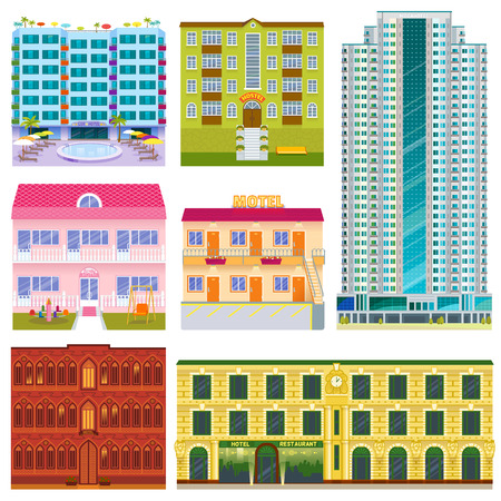 Different buildings hotels facade tourist travelers vacation time apartment urban town vector illustration