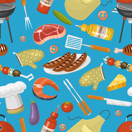 Barbecue party products BBQ grilling kitchen outdoor family time cuisine vector icons illustration seamless pattern background.