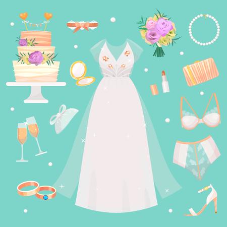 Wedding fashion bride dress and accessories Illustration