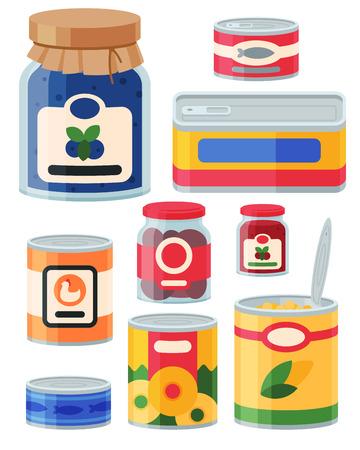 Colección de varias latas de conservas Foto de archivo - 87844730