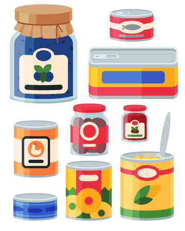 Collection of various tins canned goods Stock Vector - 87844730
