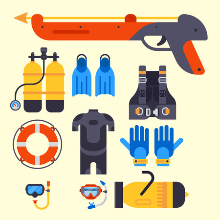 Set of flat elements for spearfishing Illustration