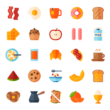 Breakfast healthy food meal icons