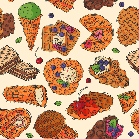 Hand drawn waffle cakes cookies Illustration