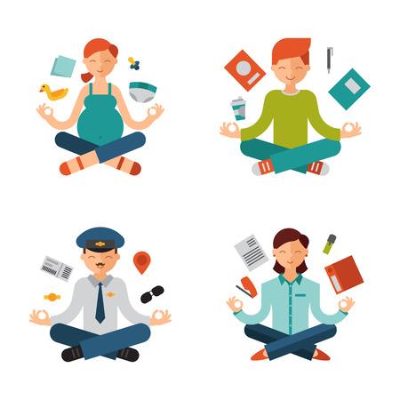 Yoga pose meditation Stock Vector - 87845743