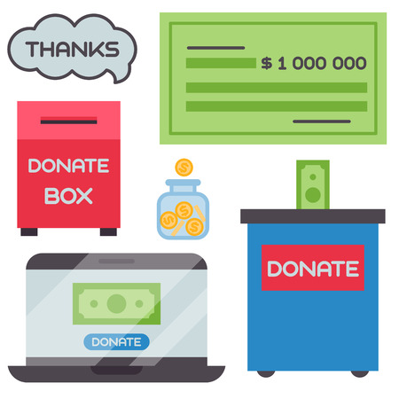 Donate money box set symbols 向量圖像
