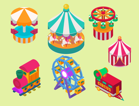 Circus isometric show entertainment tent marquee outdoor festival with stripes and flags carnival signs