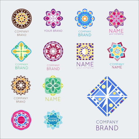 Abstract triangular polygonal shape kaleidoscope geometry company brand icon badge template circle decorative icon.