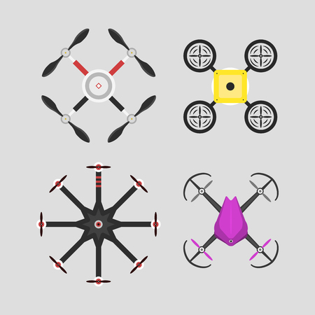 Illustration aerial vehicle drone quadcopter surveillance air hovering wireless tool remote control fly camera.