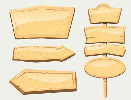 ディレクトリ木製看板セット  イラスト・ベクター素材