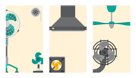 컨디셔너, 공기, 시스템, 카드, 기후, 팬, 기술, 온도, 시원한, 집, 일러스트