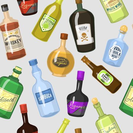 병 및 칵테일 안경에 알코올 강한 음료. 일러스트