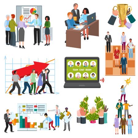 Bedrijfsmensengroepen die conferentieruimte vectorillustratie zitten.
