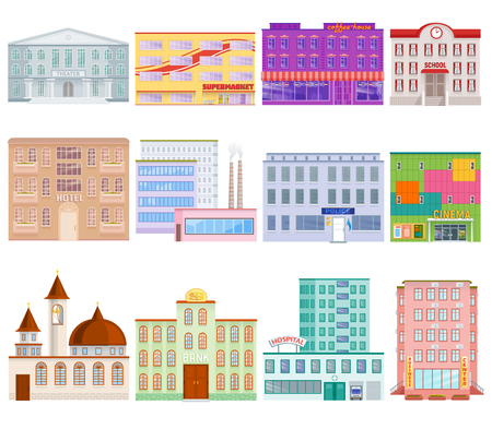 Different city public buildings houses facade flat style vector illustration.