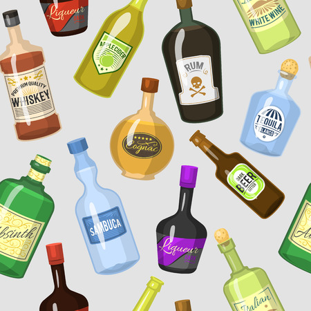 Alcohol strong drinks in bottles and cocktail glasses whiskey cognac brandy beer wine vector illustration. Cool cold alcoholic drawing liquor beverage seamless pattern background