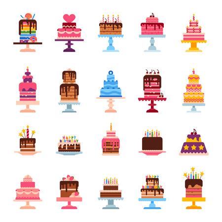 Wedding or Birthday pie cakes flat sweets dessert bakery ceremony delicious vector illustration. Tasty dessert sweet pastry pie cream traditional bakery tart. Ilustração