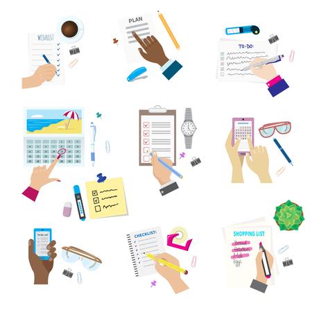 Agenda list concept vector illustration set business note ofiice calendar wishlist checklist shopping list plan to do just Illustration