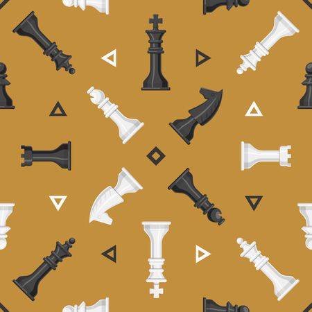 チェスの作品ボードのシームレスなパターン背景プレイ レジャー概念騎士グループ白と黒の競争のベクトル図